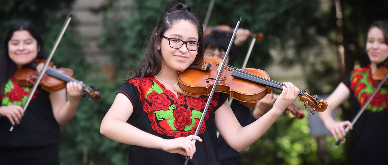Young Woman with Violin - Latino Arts